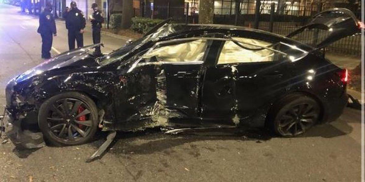 Stolen Tesla totaled in downtown B'ham during high-speed joy ride