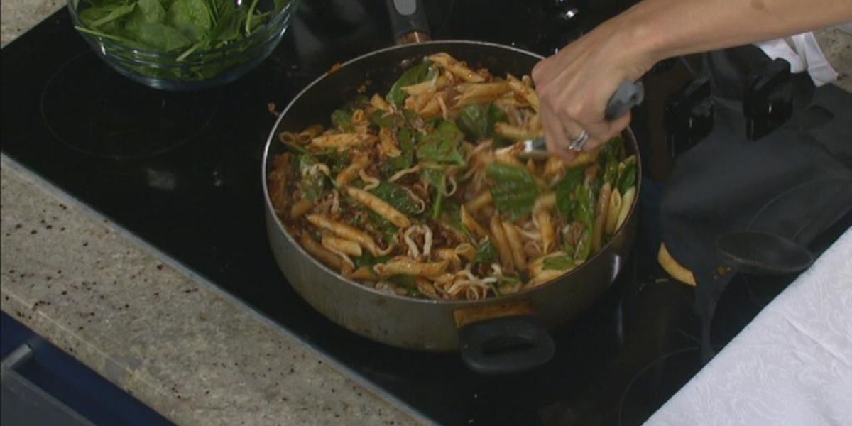 Quick Beefy Pasta with Spinach