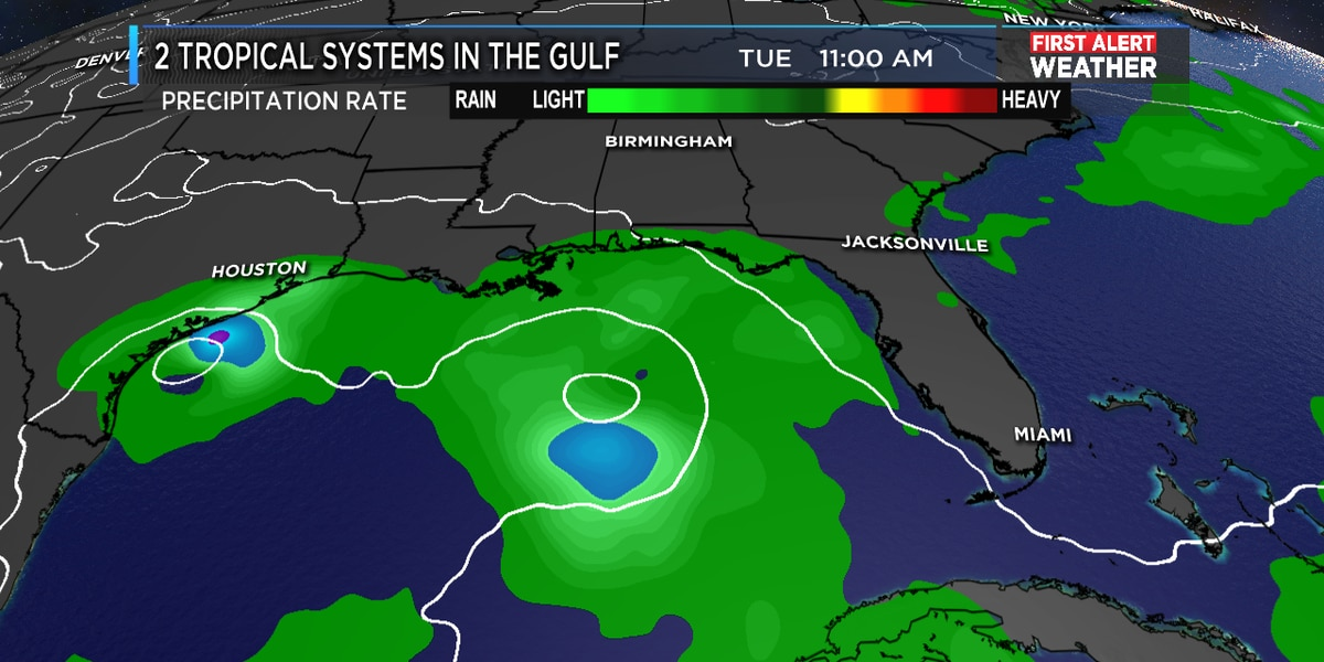 Could the two tropical systems merge into one large storm next week?
