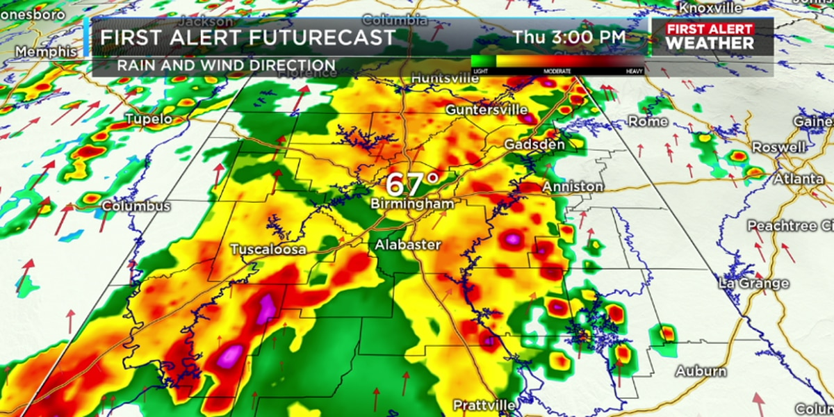 FIRST ALERT: Expect heavy rain, gusty winds and lightning Thursday afternoon
