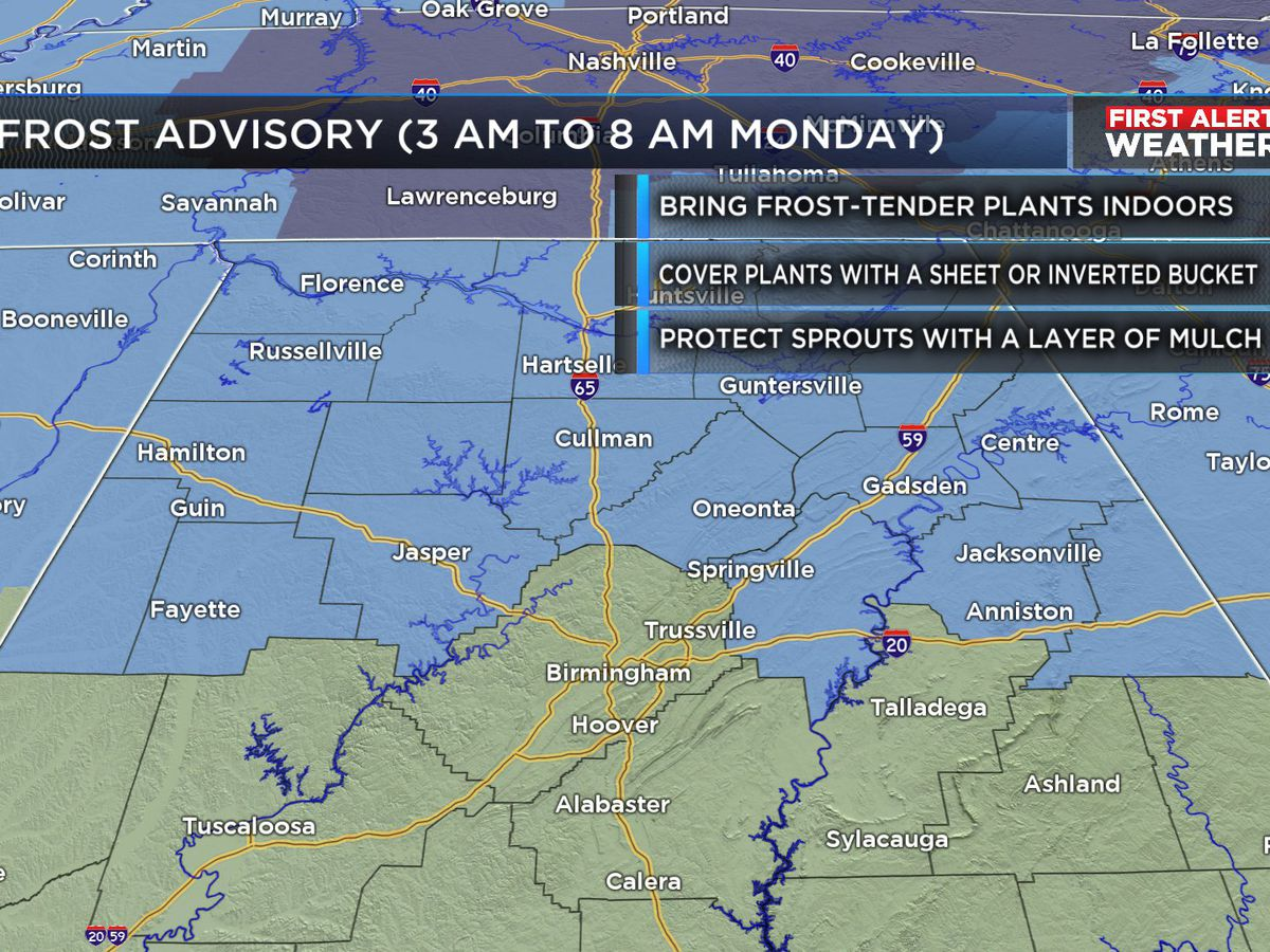 FIRST ALERT: Frost Advisory on Monday from 3 a.m. to 8 a.m.