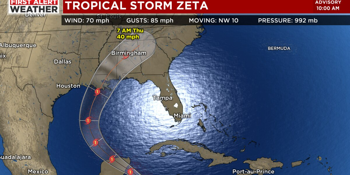 FIRST ALERT: Zeta becomes hurricane, expected to produce rain and gusty winds in our area Wednesday