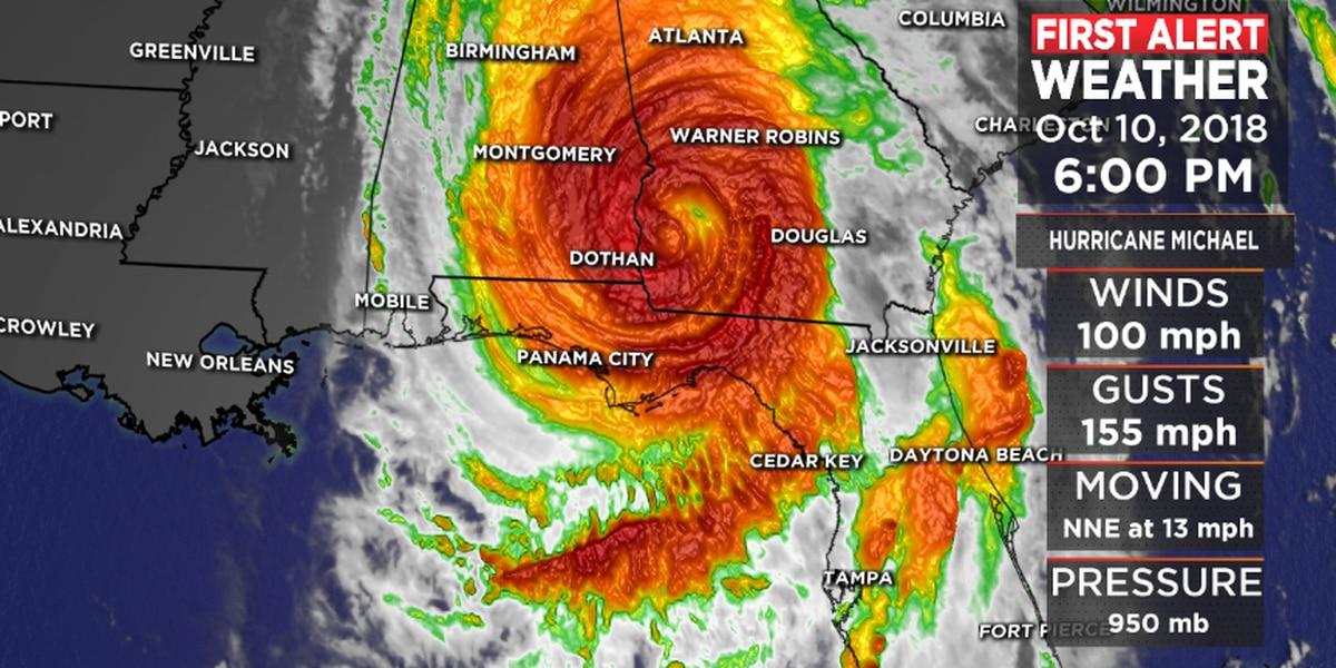 FIRST ALERT: Michael produce hurricane-force winds over Georgia