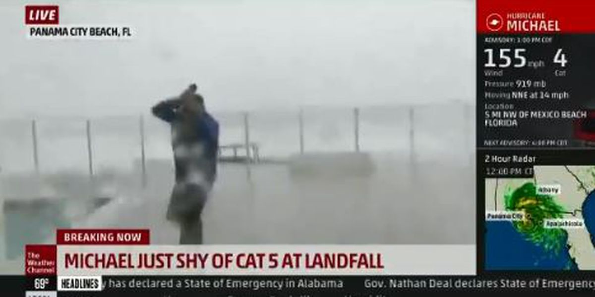 WATCH: Jim Cantore nearly impaled live on The Weather Channel