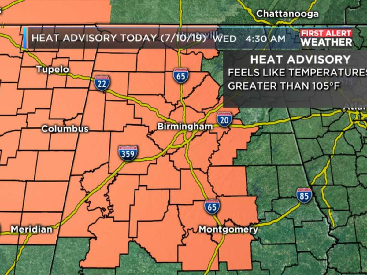 FIRST ALERT: Feels-like temperatures could exceed 105 degrees today