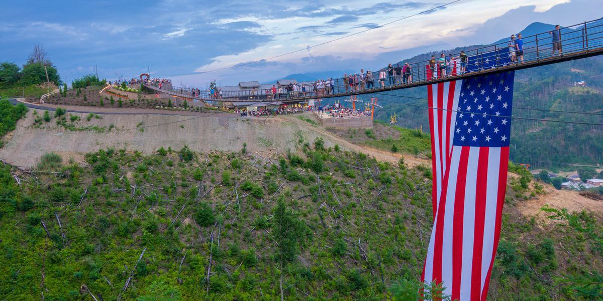 Gatlinburg SkyBridge unfurls American Flag for Labor Day