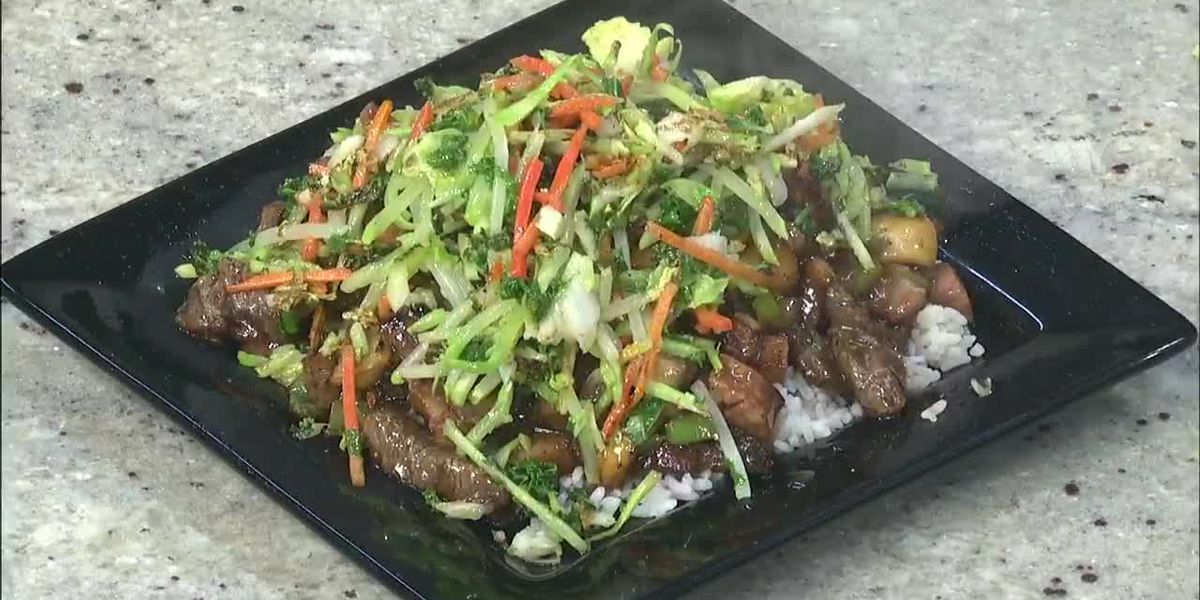 Chef Donnell Johnson: Beef tips with sautéed brussels sprouts, cabbage, carrots and kale