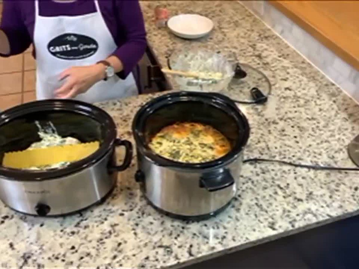 Grits and Gouda: Slow Cooker Chicken Spinach Lasagna