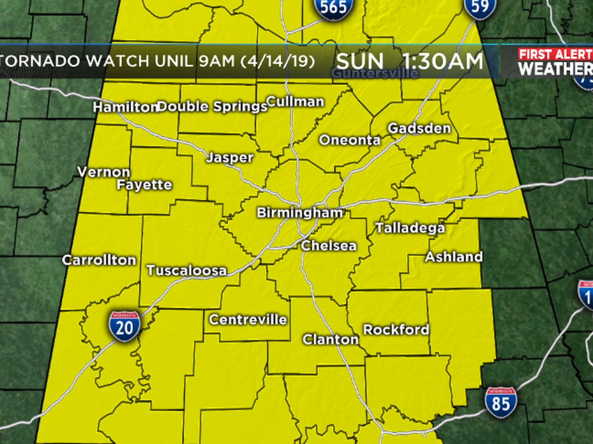 FIRST ALERT: Tornado Watch in effect for eastern Alabama counties