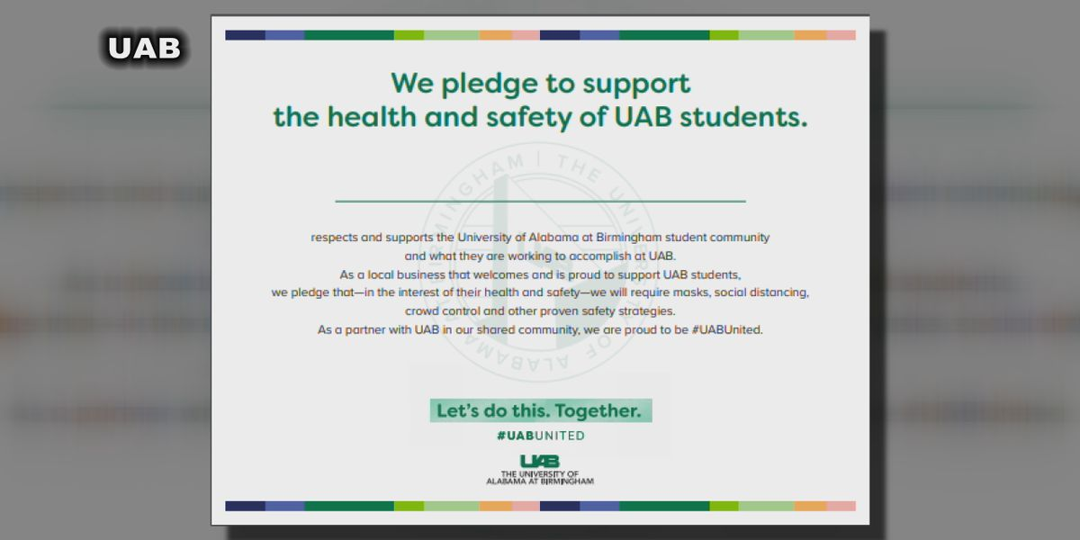 Birmingham businesses take pledge to support UAB, students' effort to stop COVID-19 spread