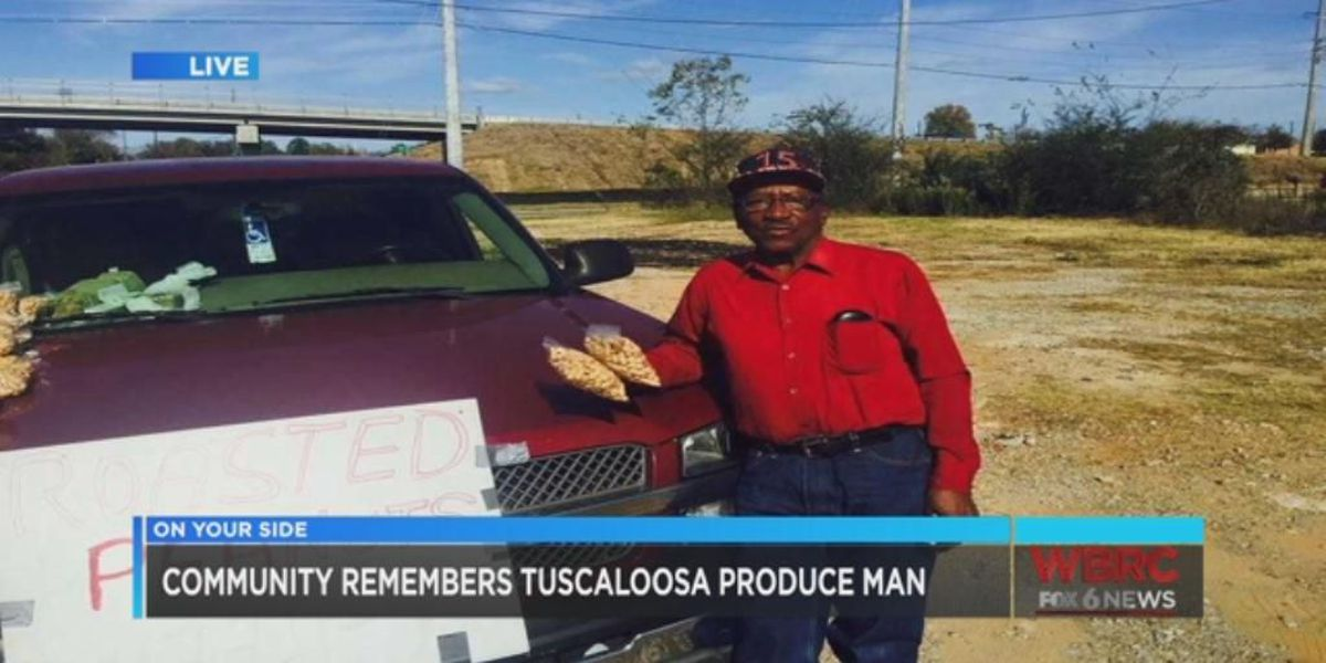 Community, loved ones create memorial for longtime Tuscaloosa produce man killed in wreck