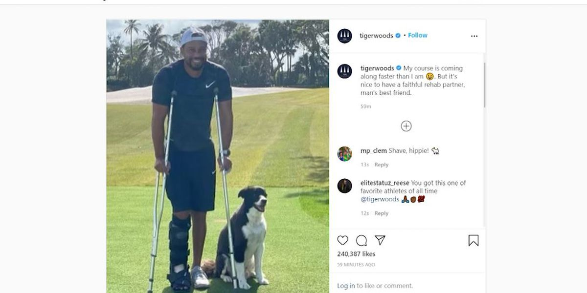 Tiger Woods on crutches in Instagram photo