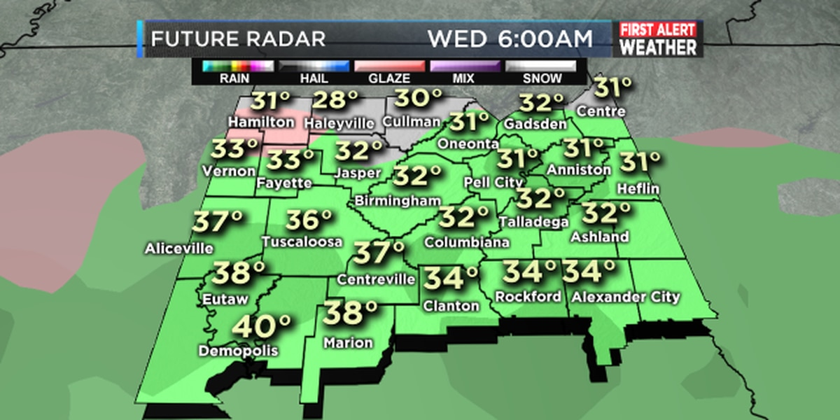 FIRST ALERT for rain and even sleet possible tomorrow night
