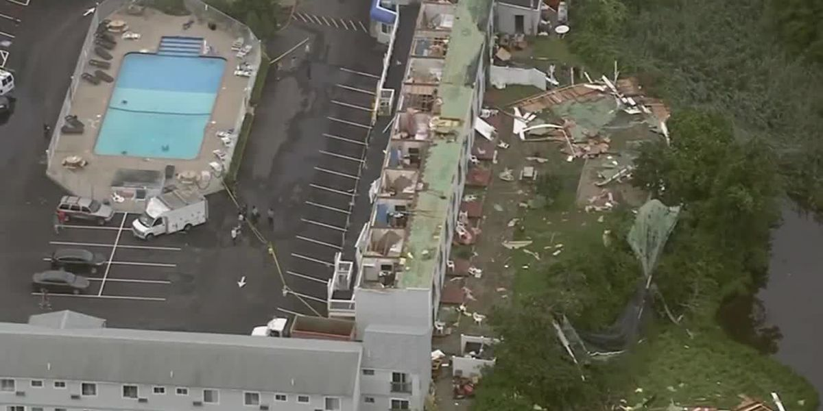 'I thought I was going to blow away': Guests terrified as tornado rips roof off Mass. hotel