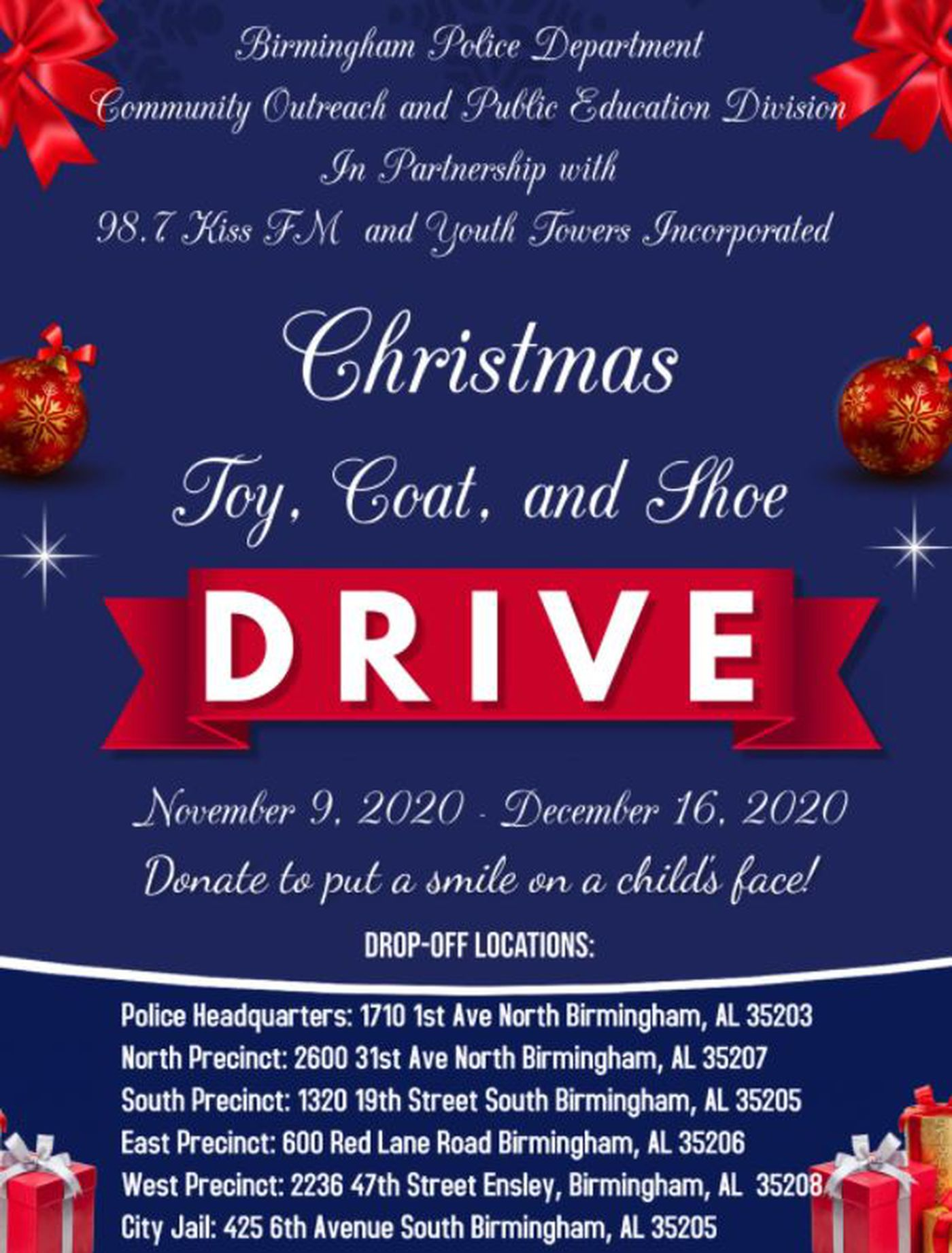 98° At Christmas 2020, December 1 Birmingham Police hosting a toy, coat and shoe drive