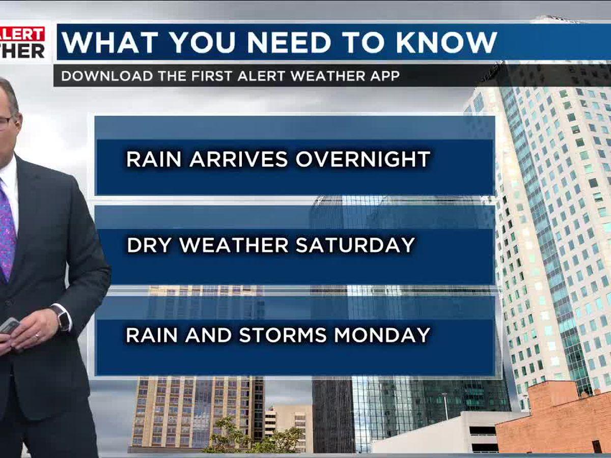 FIRST ALERT: Rain returns tonight and continues through Thursday