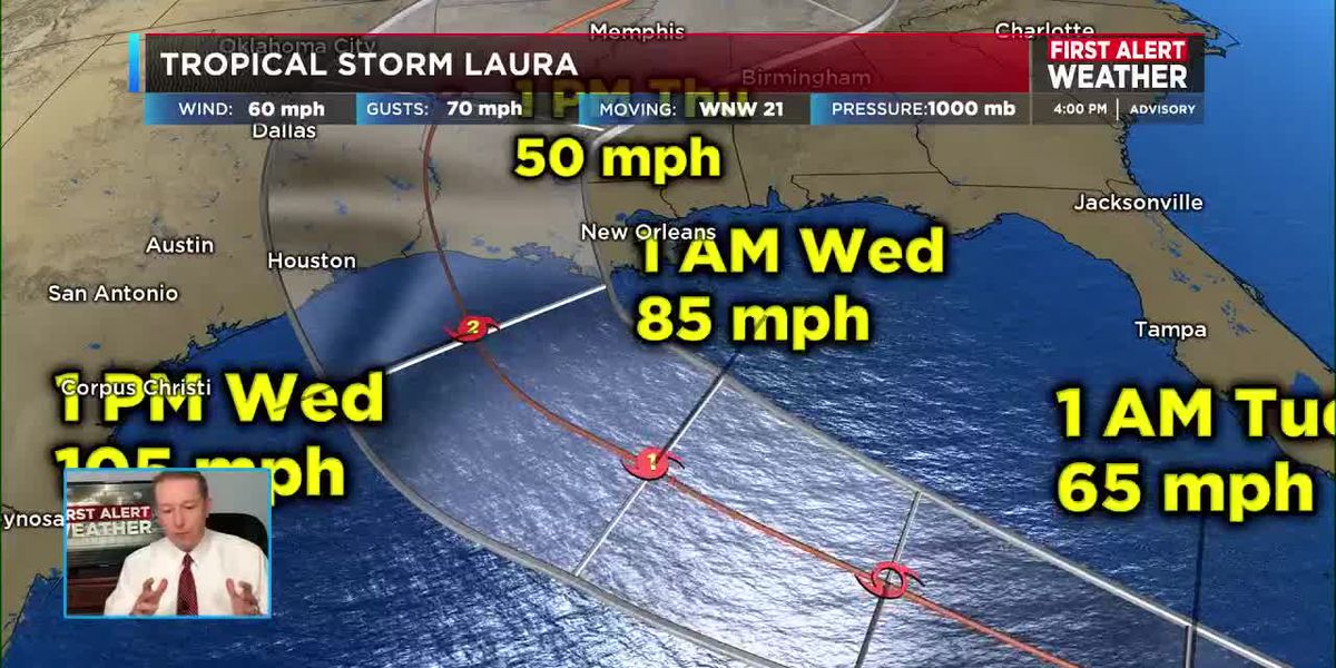 Watching how much Hurricane Marco and Tropical storm Laura impact the rain chances in your work week forecast