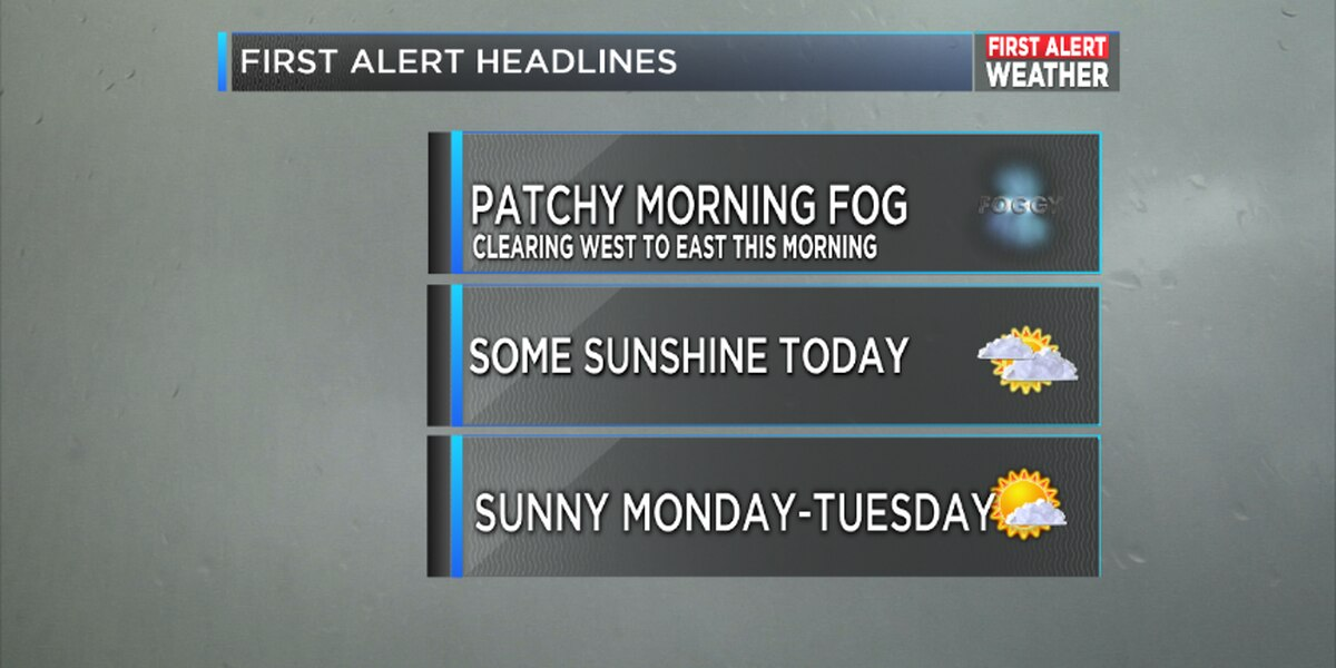 FIRST ALERT Weather: A foggy Sunday morning