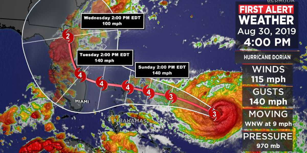 FIRST ALERT: Forecast track of Major Hurricane Dorian continues to change
