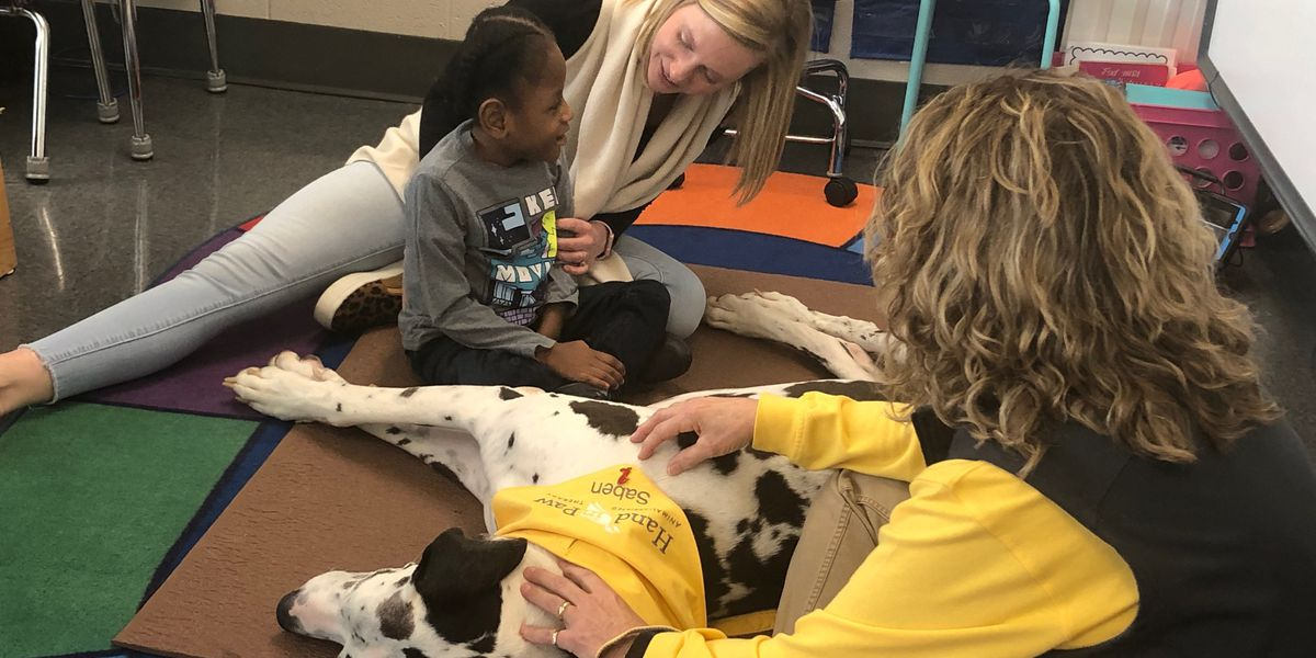Life lessons through four legged friends: Hand in Paw visits Burkett Center
