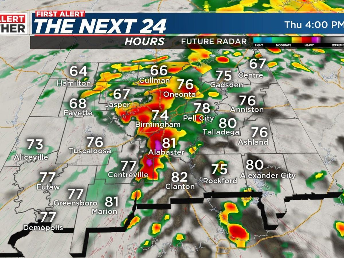 First Alert for rain and low-end threat of strong storms