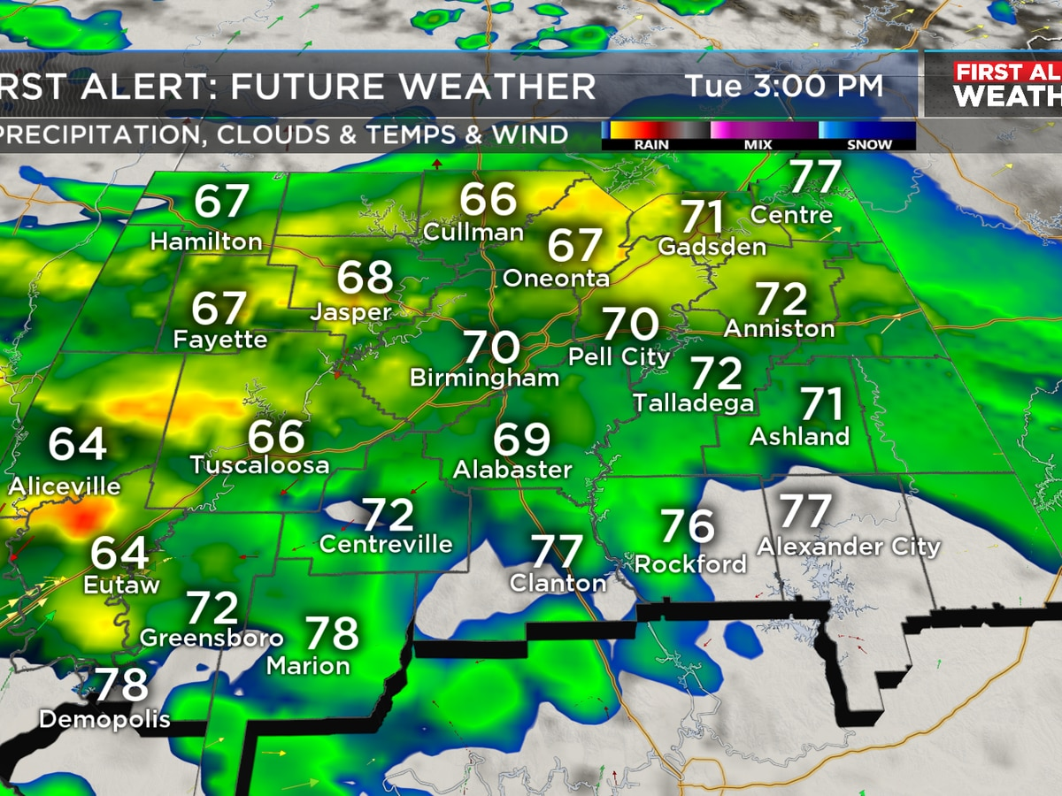 FIRST ALERT: Rain continues through Tuesday evening with a few embedded storms, some may be strong over southwest areas