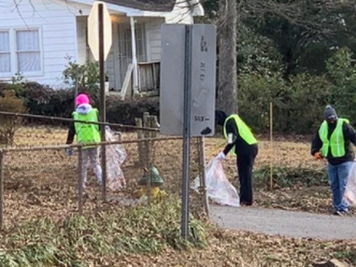 Volunteers help clean-up Center Point as part of Martin Luther King Jr. Day service project
