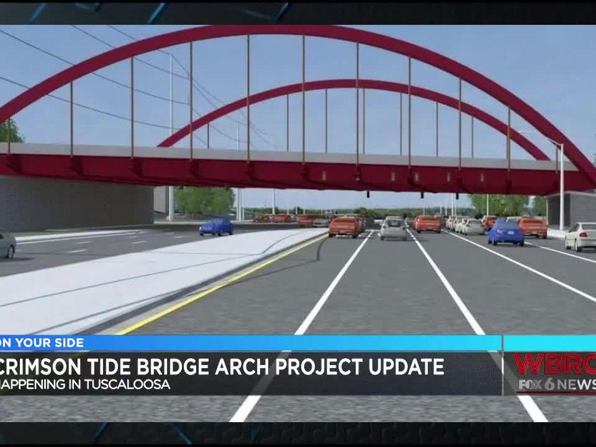 Weekend lane closures for Crimson Tide themed bridge work in Tuscaloosa