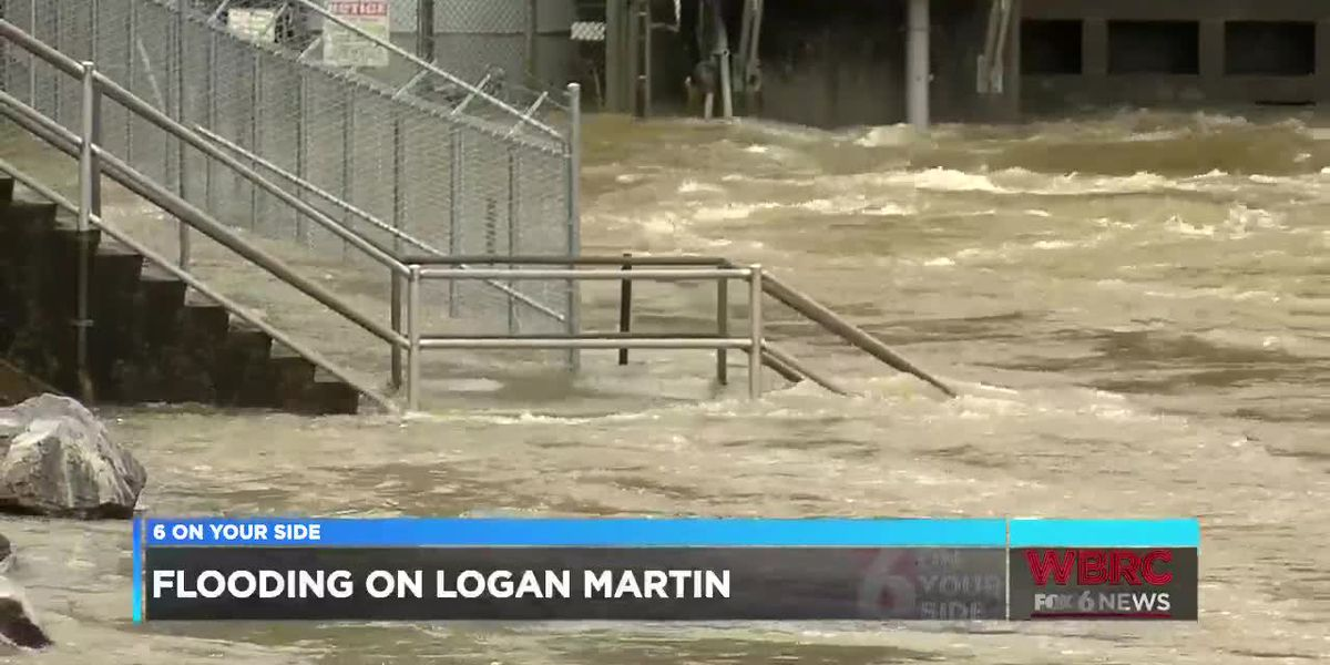 Boathouses flooded on Logan Martin Lake