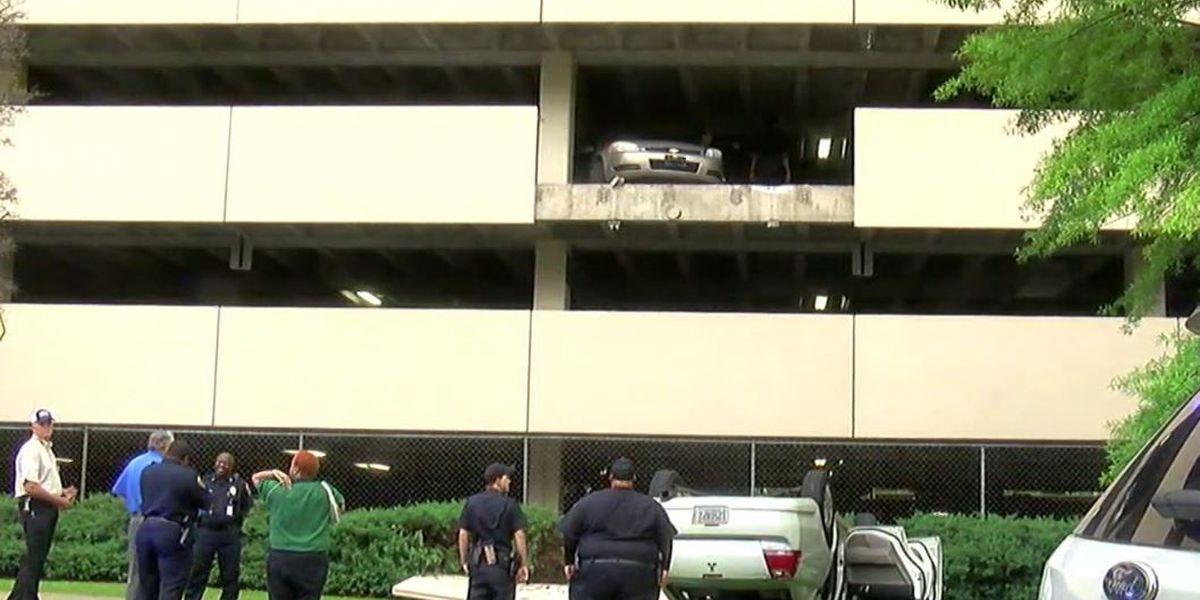 Car drives off parking deck in Birmingham, driver is OK