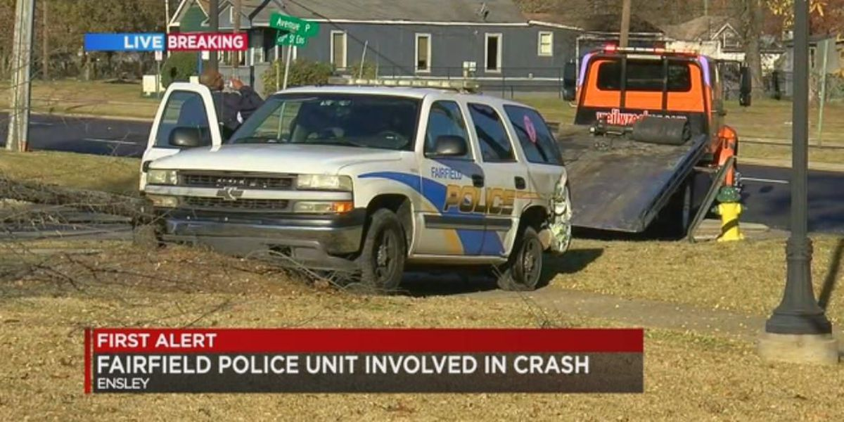 Fairfield PD vehicle crashes in Ensley