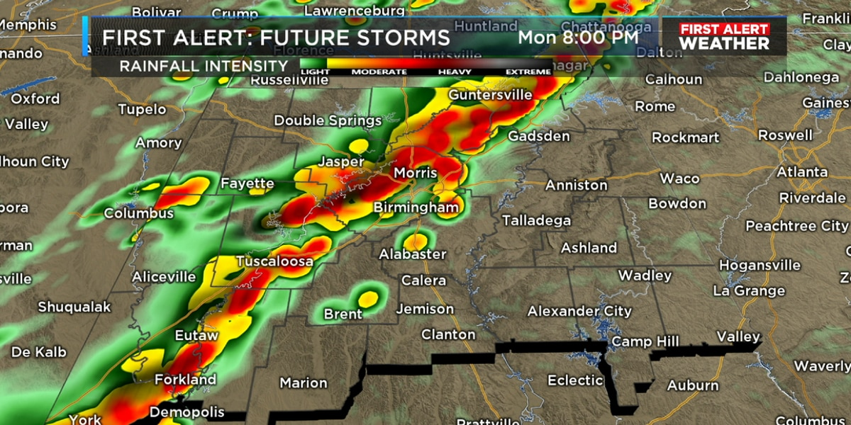 FIRST ALERT: Stormy weather builds in after 3PM in west Alabama on Monday