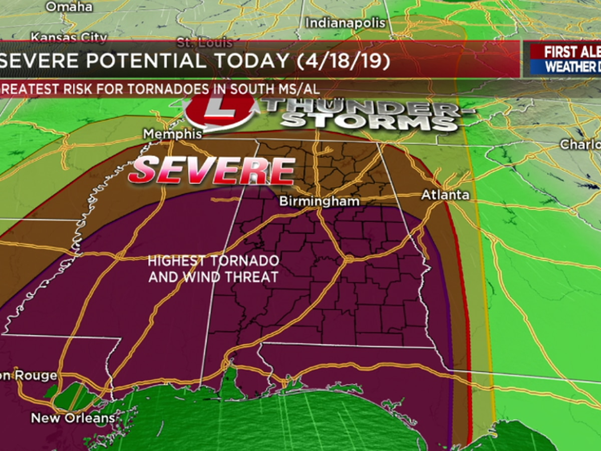 FIRST ALERT Weather Day: Damaging winds, isolated tornadoes possible Thursday evening