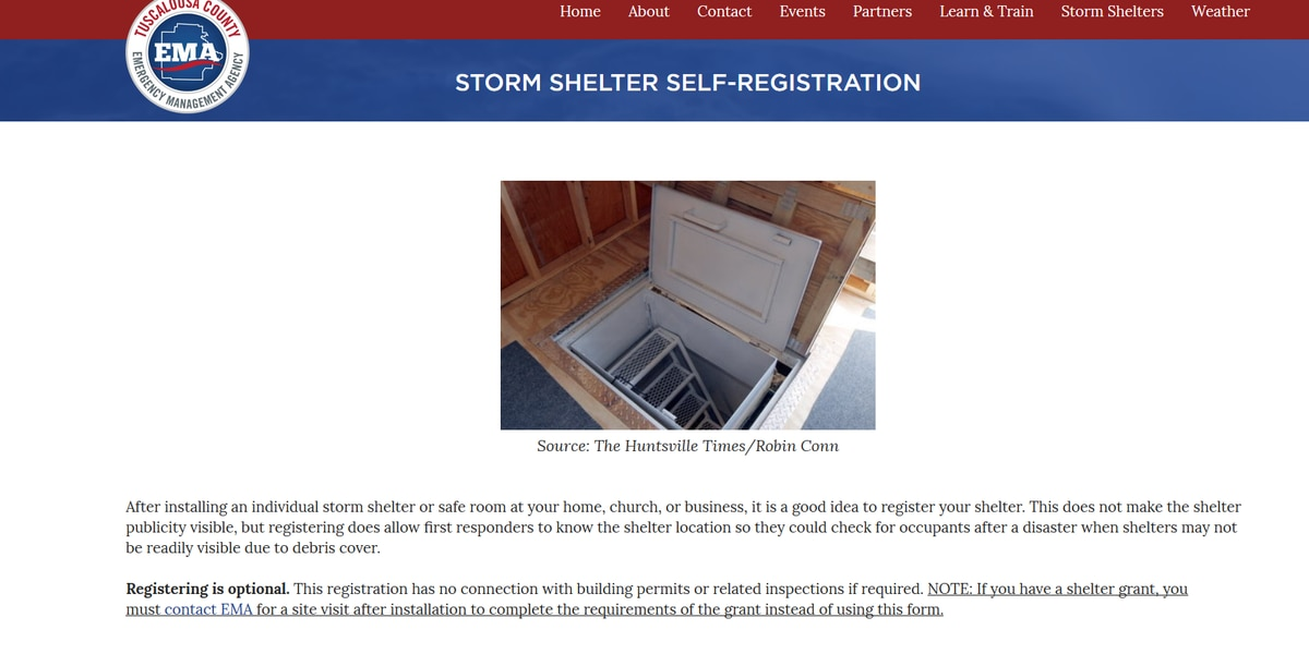 Tuscaloosa Co. EMA adds storm shelter registration feature to website