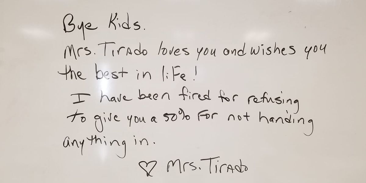 Teacher says she was fired for giving students zeros as grades