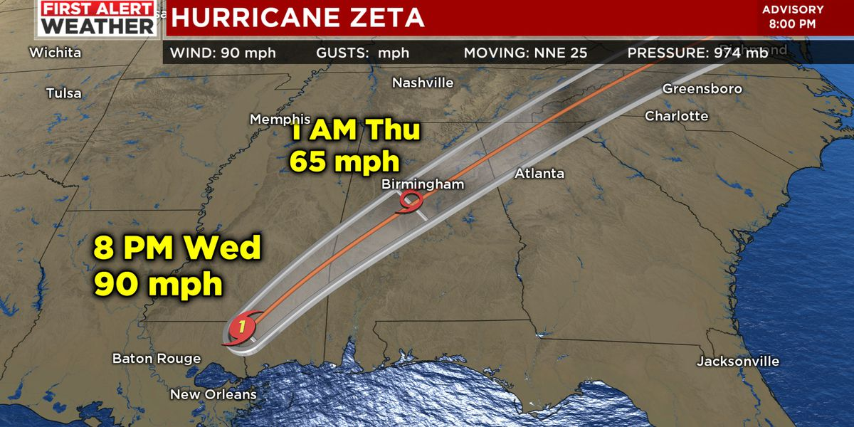 FIRST ALERT WEATHER DAY: Zeta now a Tropical Storm, high wind impacts expected in our area early Thursday a.m.