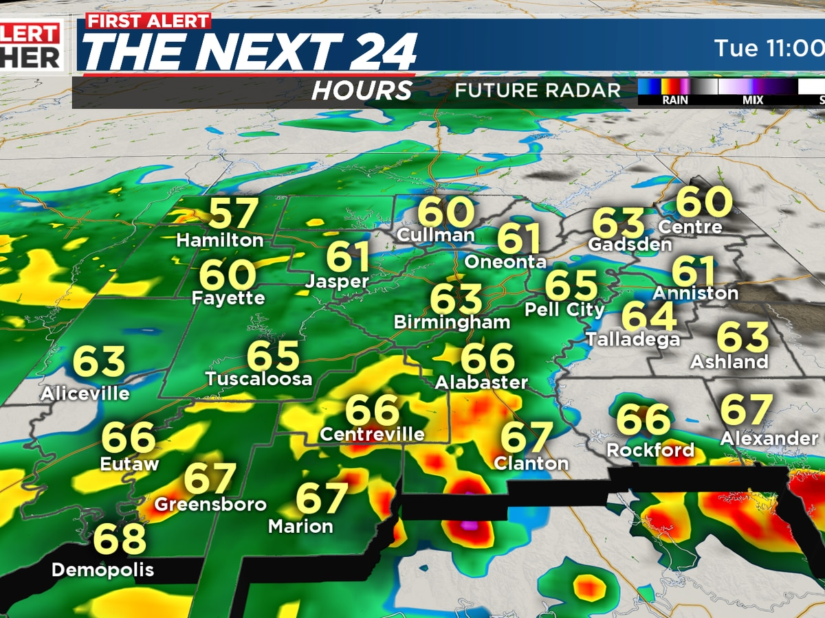 Greatest rain coverage after 10 p.m. Tuesday