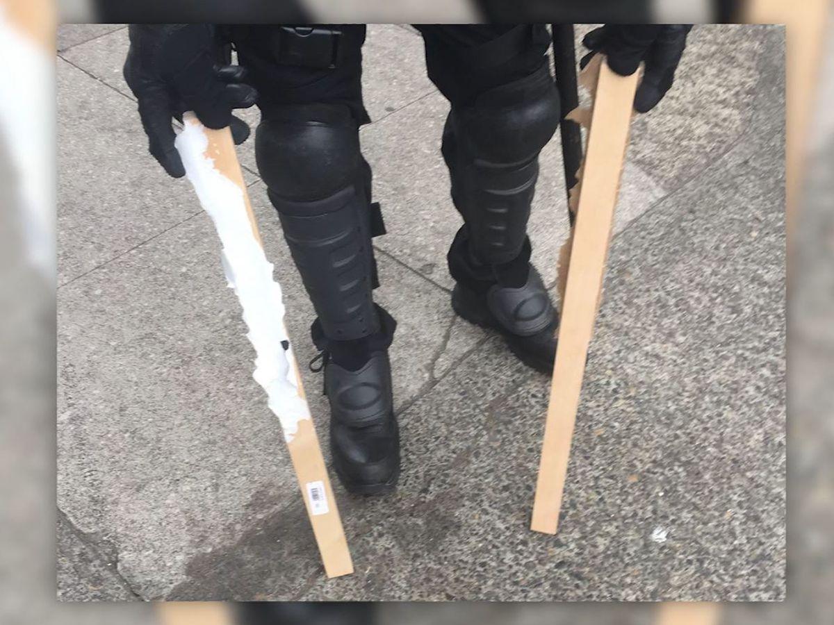 Bear spray, shields, metal poles seized at Portland protests