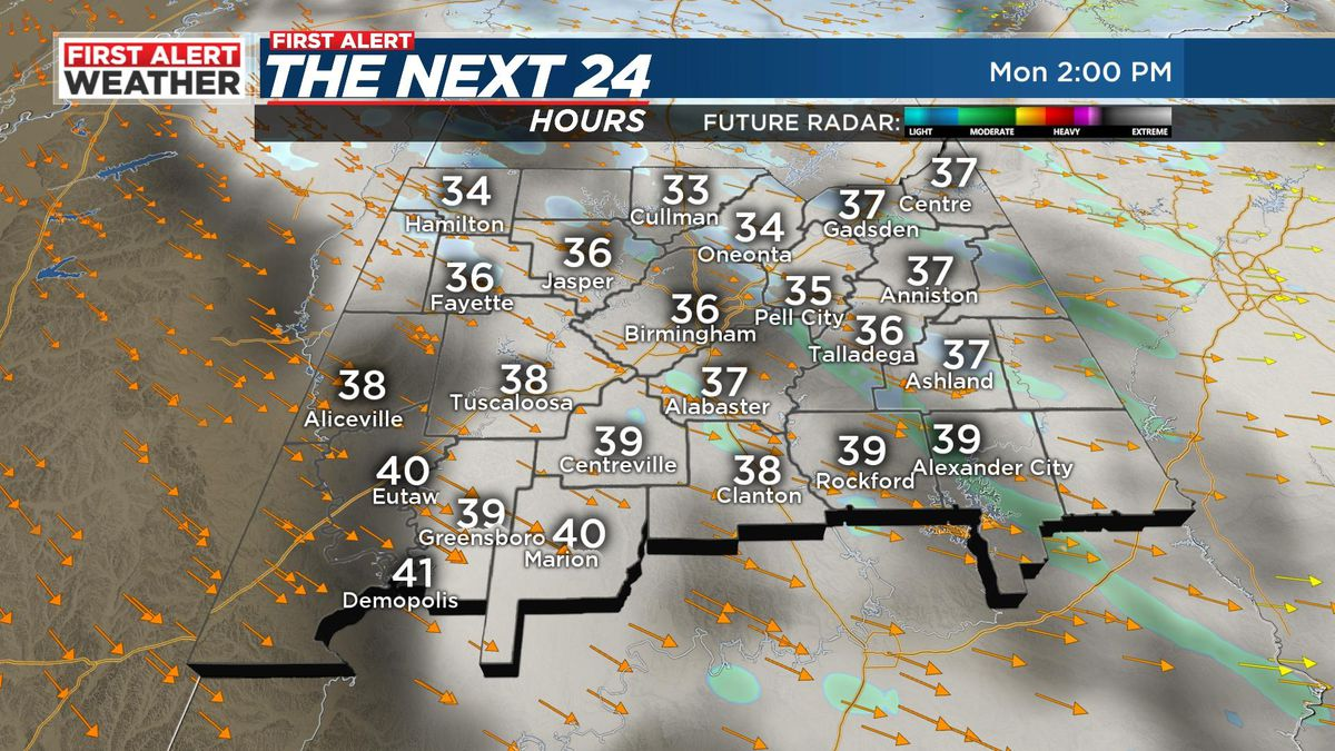 First Alert for very cold and breezy conditions Monday
