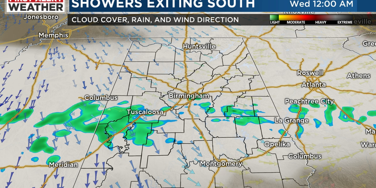 FIRST ALERT: Ongoing showers along and south of I-20