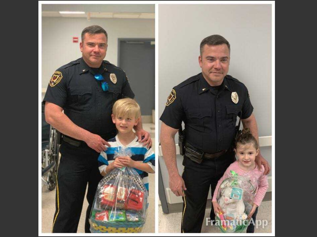 Officers give out Easter baskets at Jasper hospital