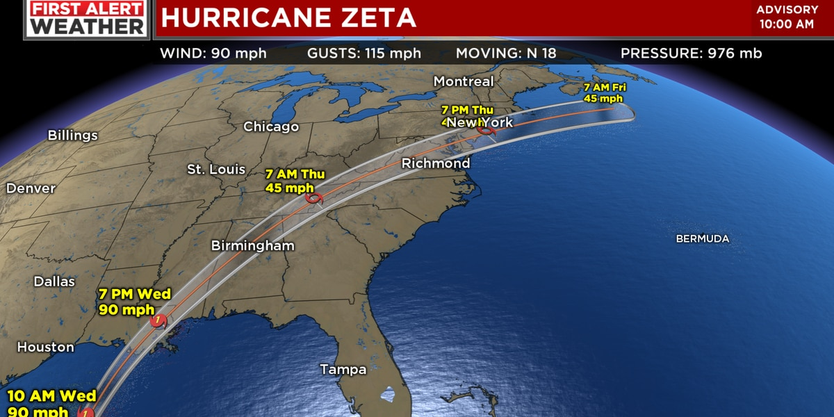 FIRST ALERT WEATHER DAY: Hurricane Zeta strengthens to a Category 2 with 100 mph winds