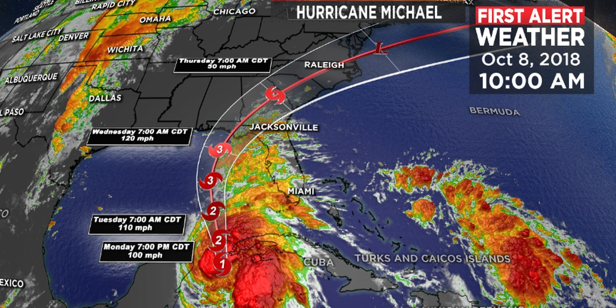 'Monstrous' Hurricane Michael gains strength, takes aim at north Florida