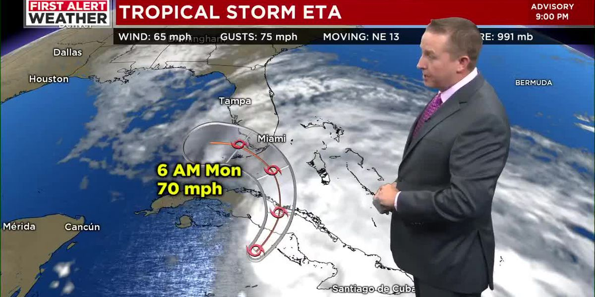 First Alert Weather: Tropical Storm Eta expected to impact South Florida tomorrow night and move over the Gulf of Mexico on Tuesday
