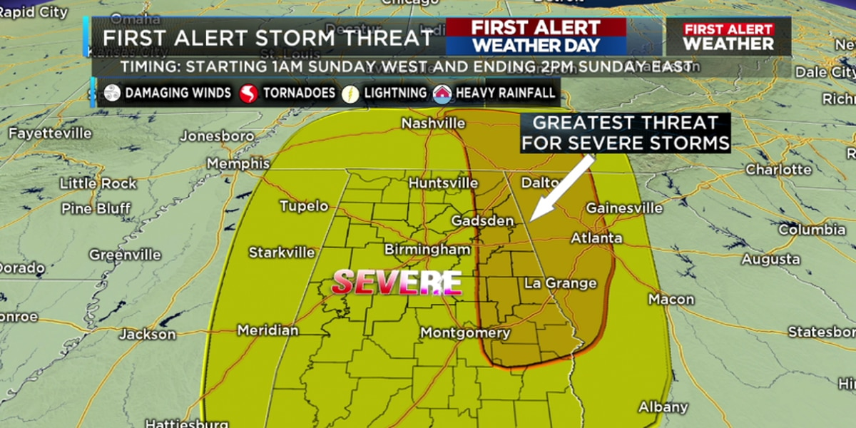 FIRST ALERT Weather Day issued for Sunday due to likelihood of severe storms