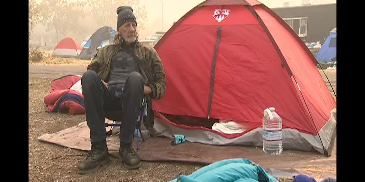 California wildfire victims set up campground in Walmart parking lot