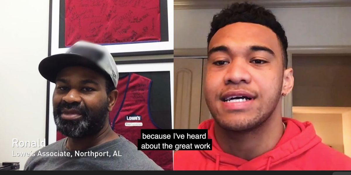 Tua thanks workers at Lowe's in Tuscaloosa