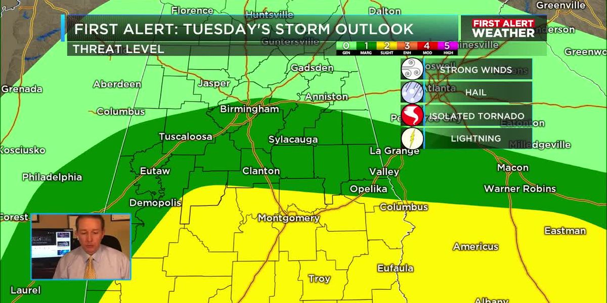 Work week forecast includes possible severe weather Tuesday and cooler weather late in the week