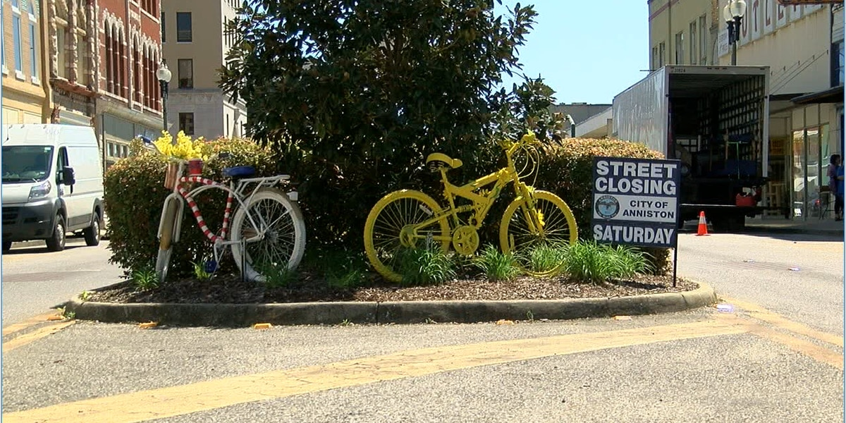 City ordinance means downtown Anniston, bicycle artwork, must come down