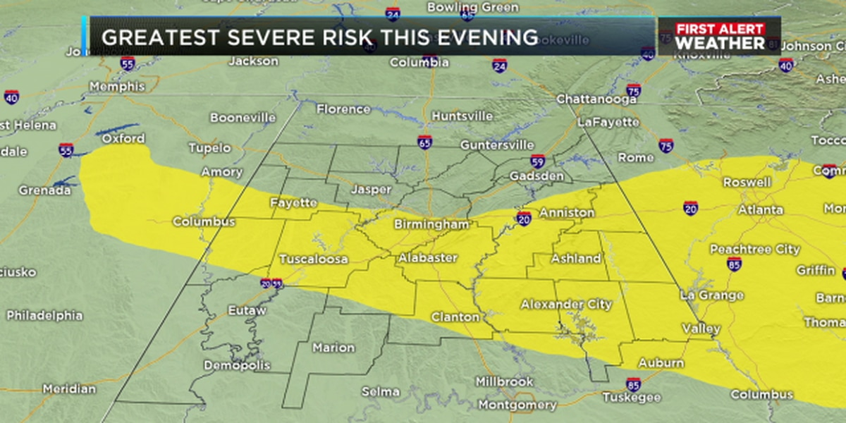 FIRST ALERT: Severe Thunderstorm Watch in effect for multiple AL counties until 9 p.m.